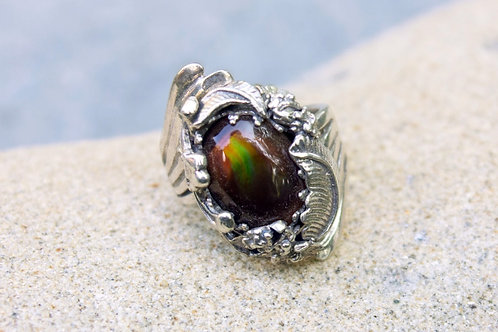 Fire Agate 5.5 Carat String Flower Setting Ring - Sterling