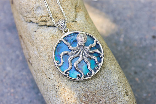 Abalone-Backed Octopus Pendant With Filigree Bale