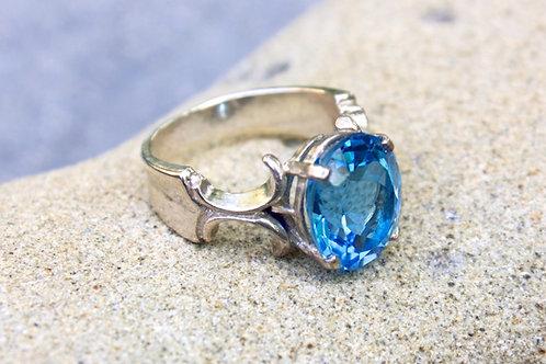 Swiss Blue Topaz (8x10) Part Fleur de Lis Ring - Sterling