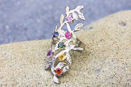 Rainbow Sapphire 7-Stone (3mm) Mother's Ring - Sterling