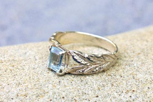 Emerald-Cut Aquamarine 2-Dimensional Leaf Ring - Sterling