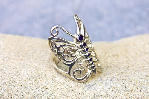 Black Diamond Butterfly Wrap-Around Ring