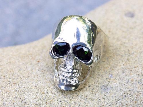 Garnet (4x6) Simple Skull Ring - Sterling