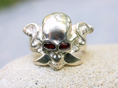 Ruby (4x6) Skull & Crossbones Ring -Sterling