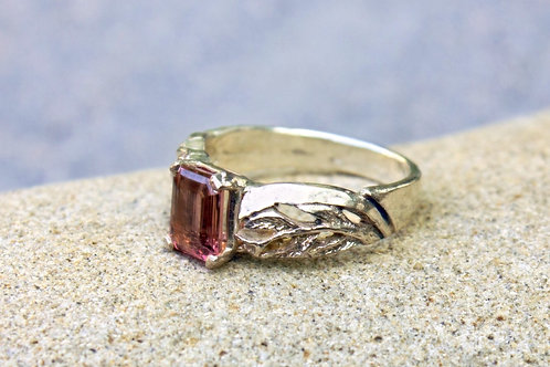 Emerald-Cut Pink Tourmaline (5x9) Half-Leaf Band - Sterling