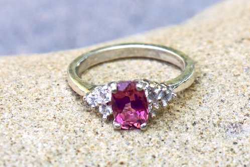 Pink Sapphire (5x7) 3-Diamonds (3mm) Simple Ring - Sterling