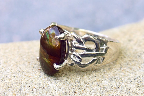 Fire Agate Approximately 10-Carat Open Celtic-Knot Ring - Sterling