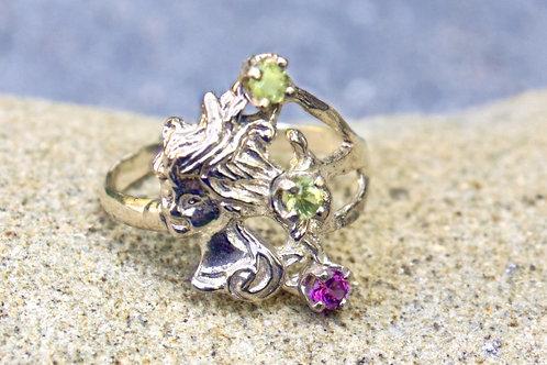 Peridot & Pink Sapphire (3mm) Lady Face Ring