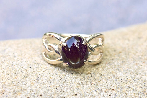 Black-Star Sapphire 1.5 Carat Natural Rope Band Ring - Sterling