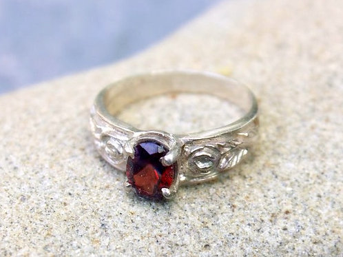 Garnet (5x7) Wide Flower Band Ring