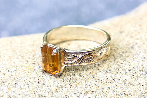 Emerald-Cut Citrine (5x9) Wide Flower/Vine Band-Sterling