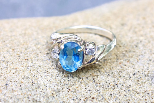 Swiss Blue Topaz (5x7) with Two (3mm) Diamonds Ring - Sterling
