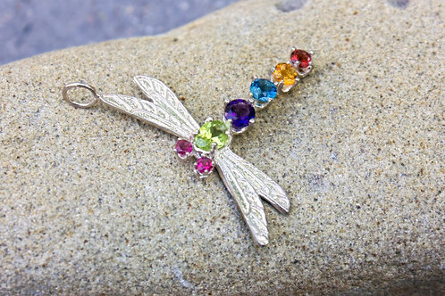 Colored Seven-Stone Dragonfly Pendant