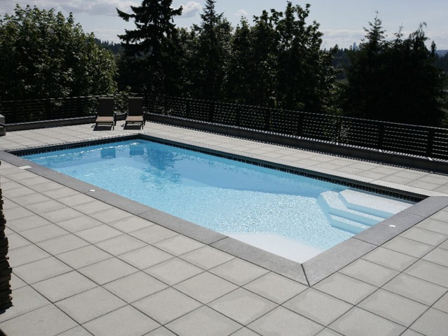 rectangle Fiberglass pool installation