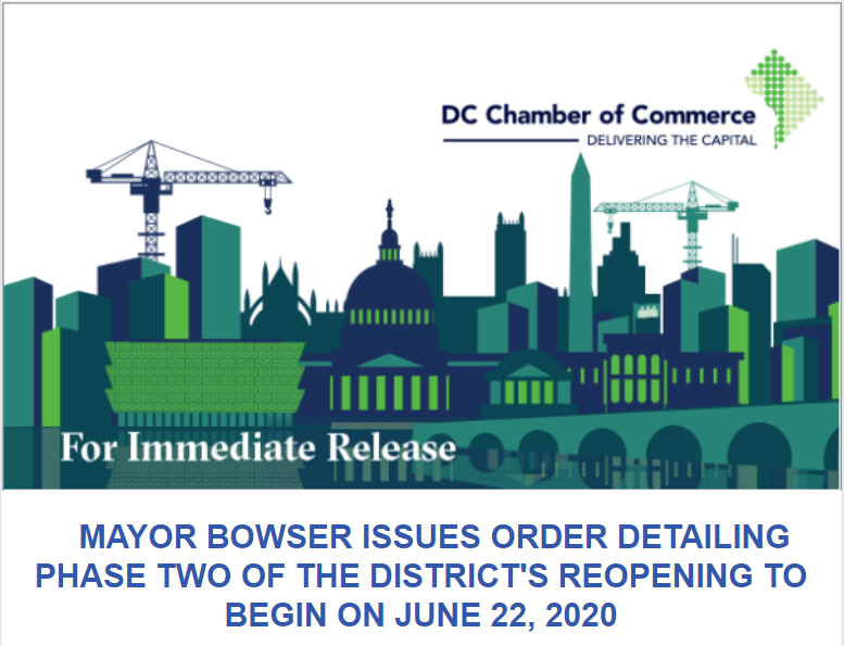 MAYOR BOWSER ISSUES ORDER DETAILING PHASE TWO OF THE DISTRICT'S REOPENING TO BEGIN ON JUNE 22, 2020
