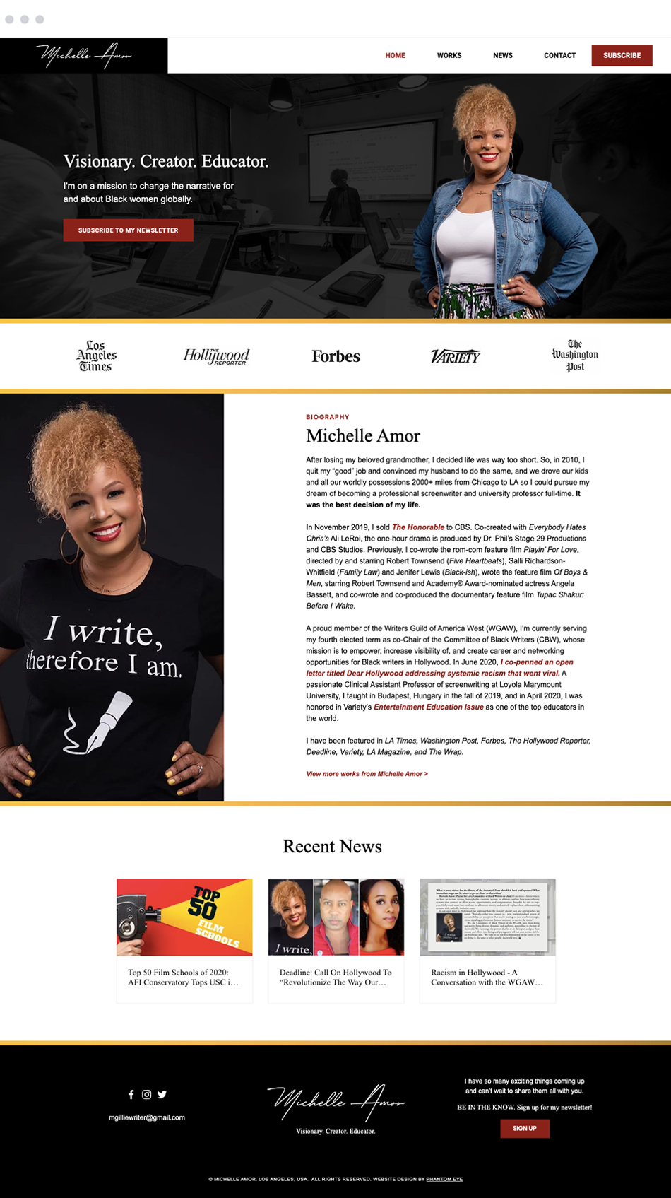 Michelle Amor web design