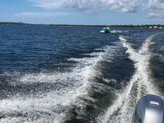 panga boats in rough water