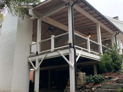 Exterior view of covered deck remodel