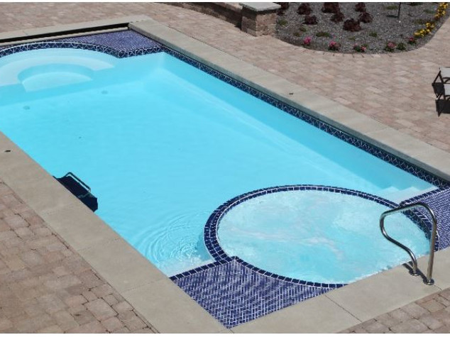fiberglass pool with hot tub
