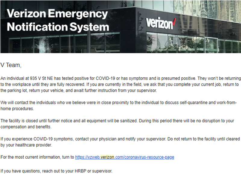 Verizon Emergency Notification