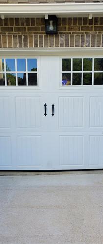 White garage door with windows