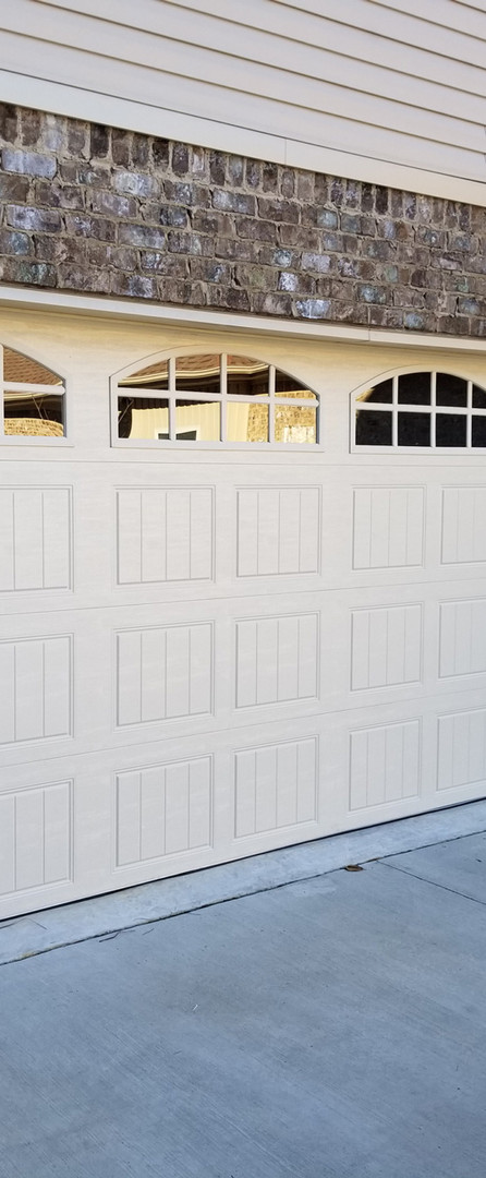 Wide garage door with windows