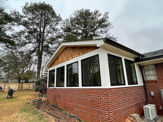 side exterior view of brick ranch home addition by north georgia design build