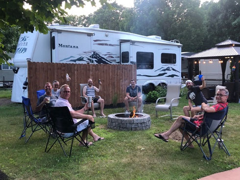 Campers enjoying campsite