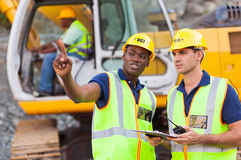 Construction workers with DCI hard hats