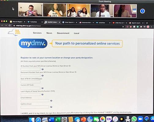 Virtual Voter Registration Party screenshot
