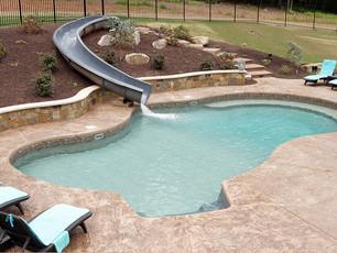 vinyl pool with water slide