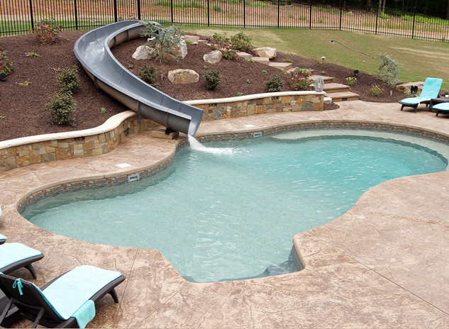 vinyl pool with water slide