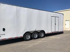 large enclosed white trailer