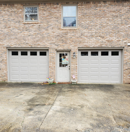 Double white garage doors