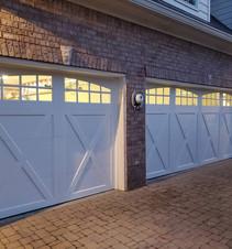 Garage doors at night