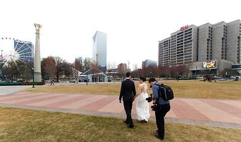 Dahlonega wedding videographer Ben Grant filming Bride and Groom