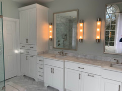 white bathroom renovation by north georgia design build