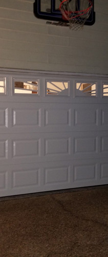 Garage door with windows