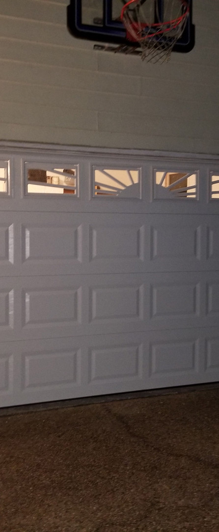 Garage door with windows