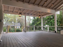 Covered deck with hanging lights deck remodel