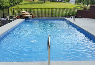 vinyl pool installation with waterfall