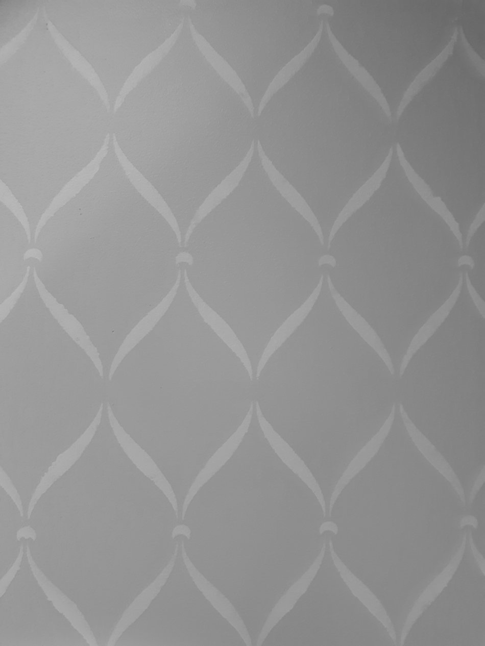 grey stenciled wall at Salon de' Sue