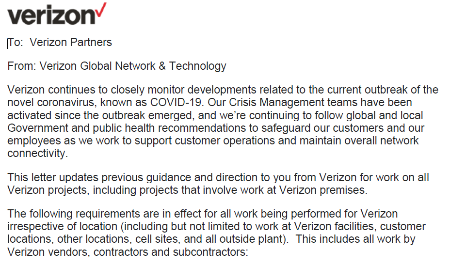 Verizon COVID-19 Critical Information