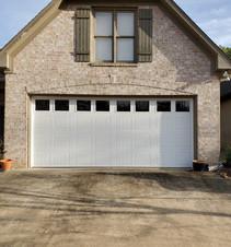 Wide garage door with windows