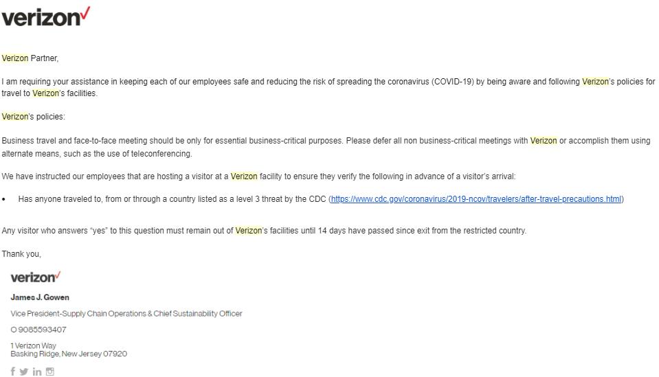 Verizon announcement March 11 2020