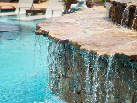 backyard waterfall built by Butler Pool and Spa