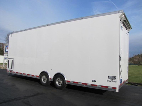 white enclosed trailer