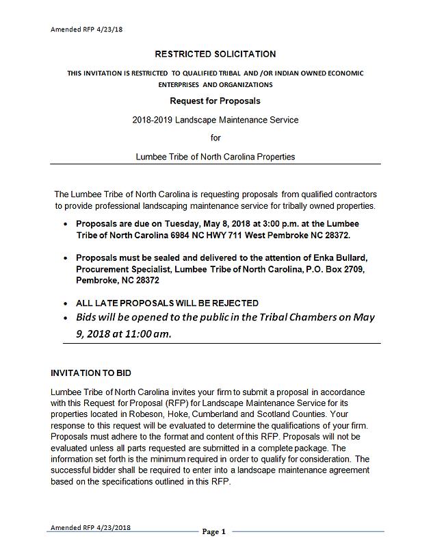 Request for Proposals 2018-2019 Landscape Maintenance Service