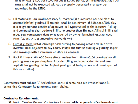 Invitation to Bid LTNC Maintenance Build ITB Site Work