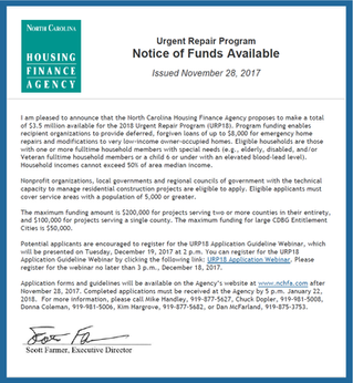 NC Housing Urgent Repair Program